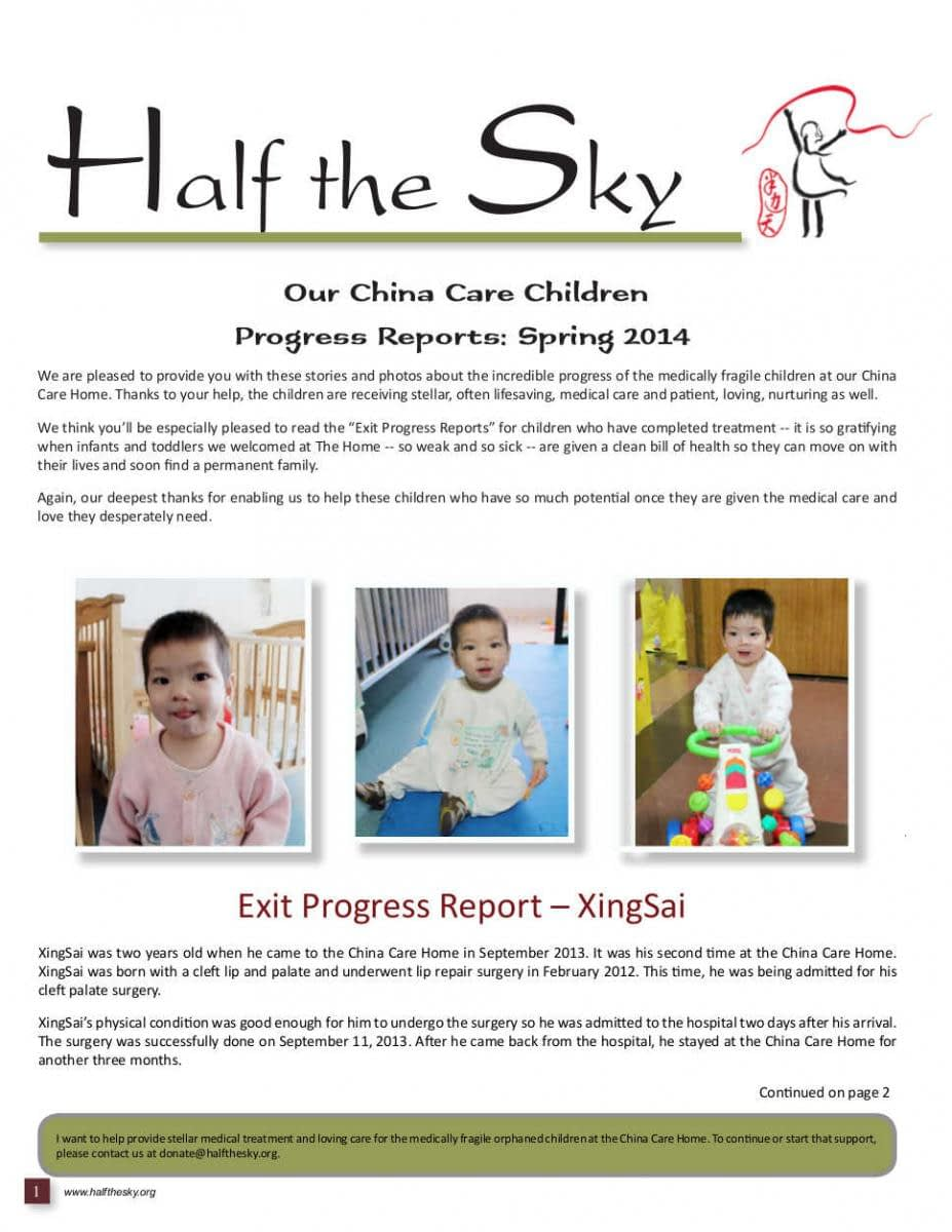 Image of Half the Sky's China Care Home Spring 2014 Newsletter