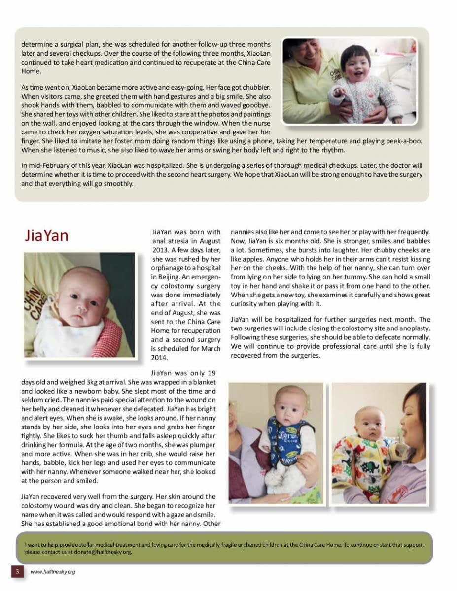 Image of Half the Sky's China Care Home Spring 2014 Newsletter: Page 3