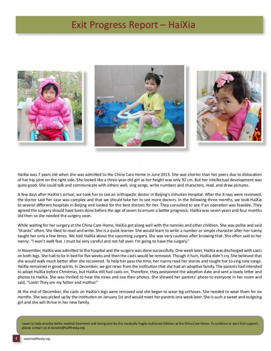 Image of Half the Sky's China Care Home Spring 2014 Newsletter: Page 4