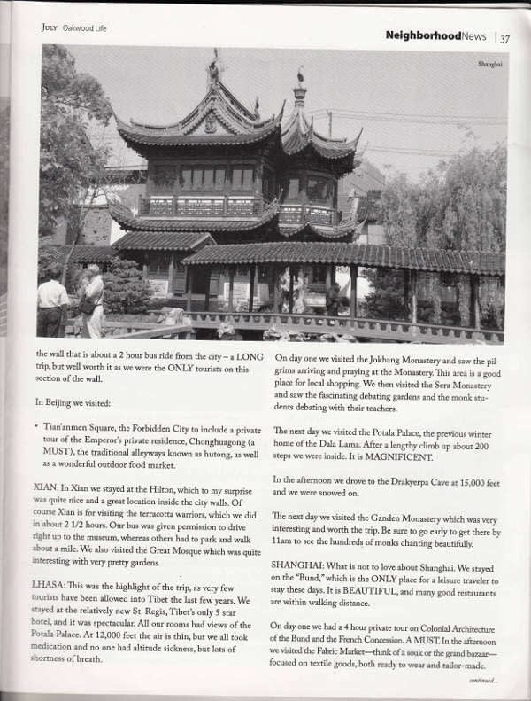 Page 2 of Tony Huffman's recent trip to China with Imperial Tours