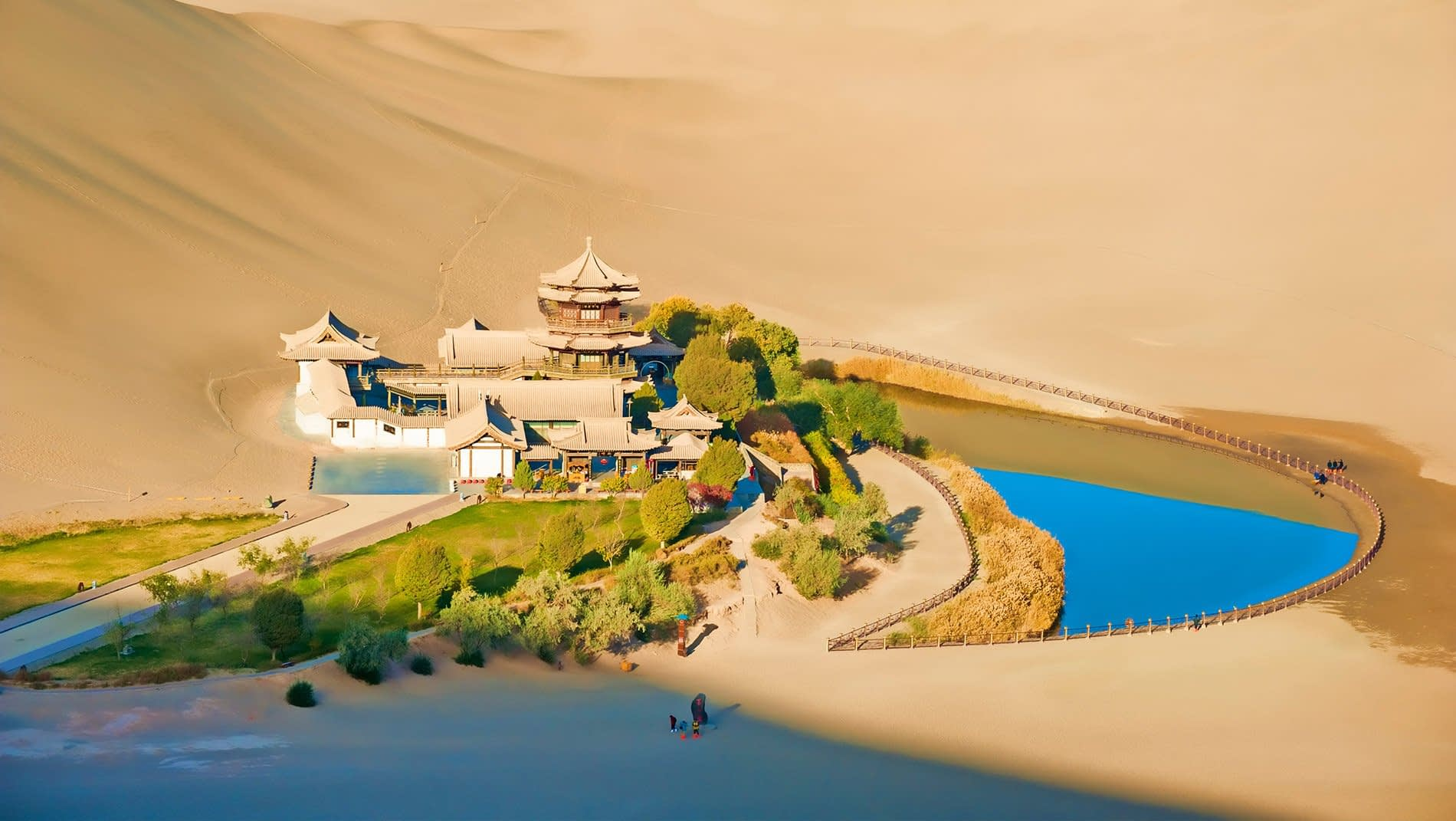 Mingsha Sand Dune~Daoists believed this crescent lake in the midst of sand dunes had unique properties.