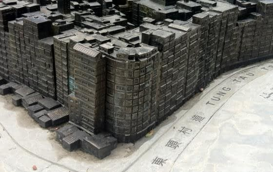 A model of the Walled City shows the conditions one would have endured at the time