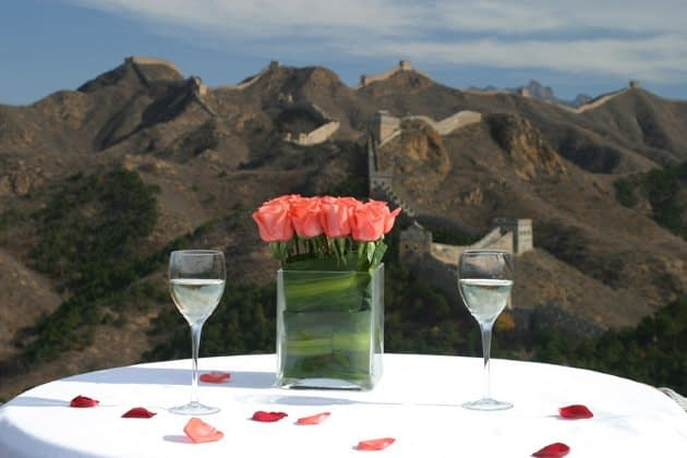 Image of Great Wall of China with Table and Flower