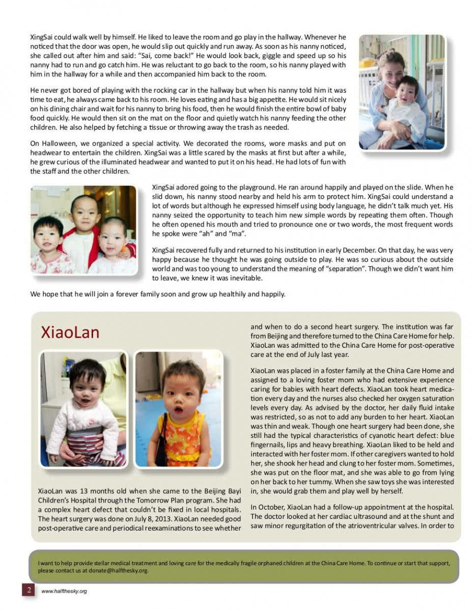 Image of Half the Sky's China Care Home Spring 2014 Newsletter: Page 2