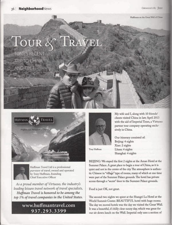 Page 1 of Tony Huffman's recent trip to China with Imperial Tours