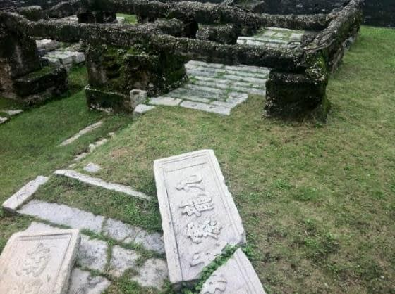 Foundations of the original wall preserved within the Walled City Park
