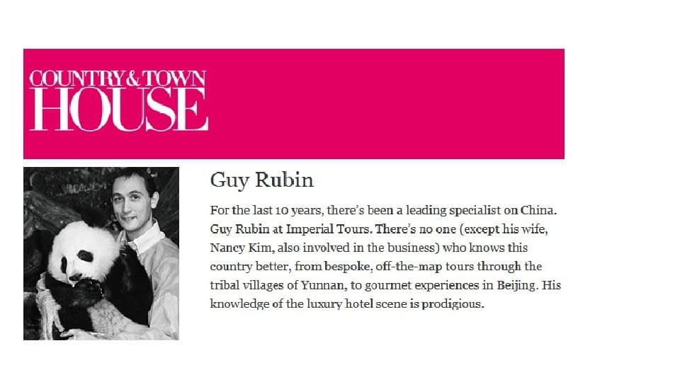 Article in Country and Townhouse about Guy Rubin, Imperial Tours: Luxury Tours in China