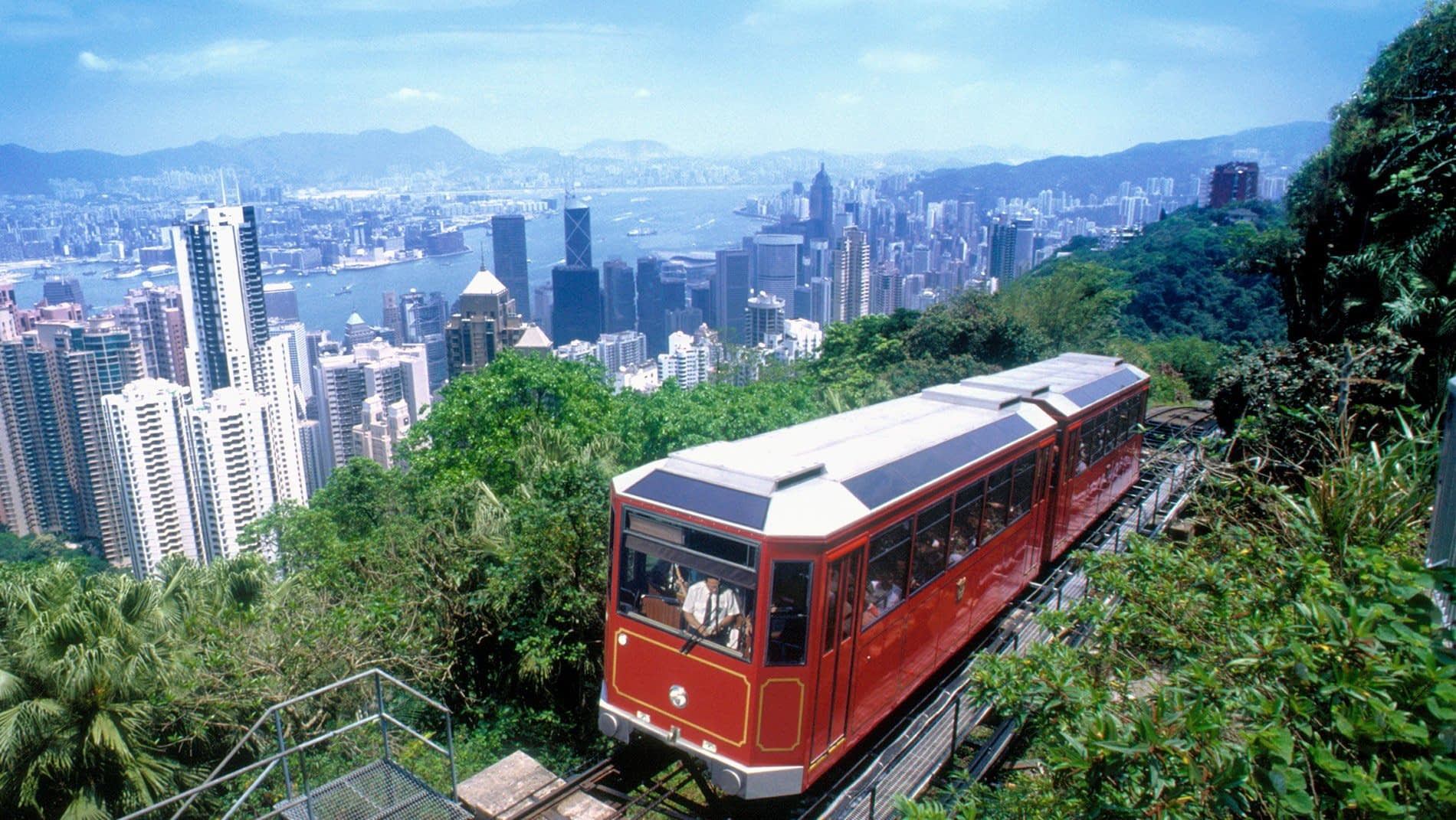 Victoria Peak~Since 1888 the Peak Tram has been carrying people from Central to the Peak to enjoy the cooler air and panoramic view over the downtown and harbor. From 2019 - 2020, it is enjoying a multi-million dollar renovation to double its capacity and improve facilities.
