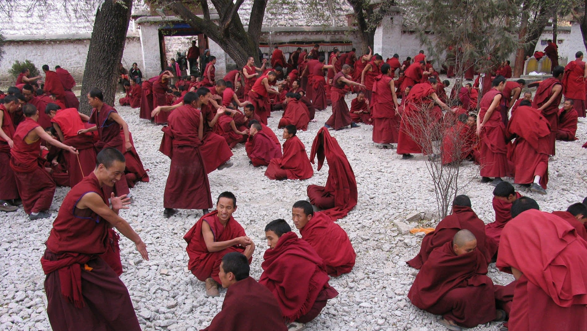 Monastic Debate~Young Buddhist monks of the Gelug sect have developed unusual techniques to practice their debating skills.